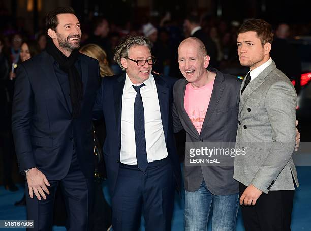 Australian actor Hugh Jackman poses with British director Dexter Fletcher British former Olympic ski jumper Eddie 'the eagle' Edwards and British...