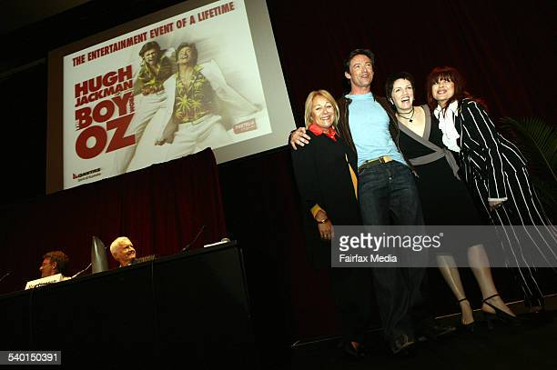 Australian actor Hugh Jackman third from right with costars from left Colleen Hewett Angela Toohey and Chrissy Amphlett at a press conference about...
