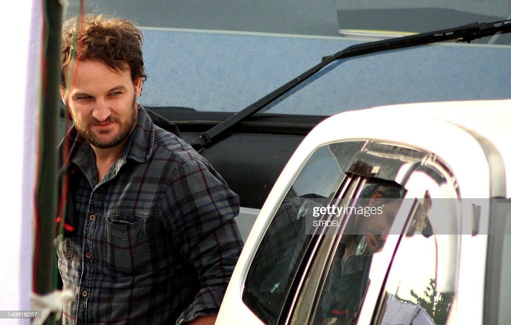 Australian actor Jason Clarke walks on the set of Kathryn Bigelow`s forthcoming film on Osama bin Laden in Chandigarh on March 7 2012 The untitled...