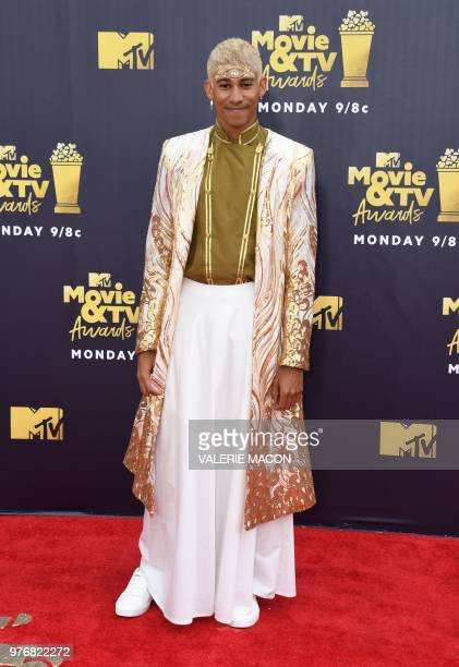 Australian actor Keiynan Lonsdale attends the 2018 MTV Movie TV awards at the Barker Hangar in Santa Monica on June 16 2018 This year's show is not...