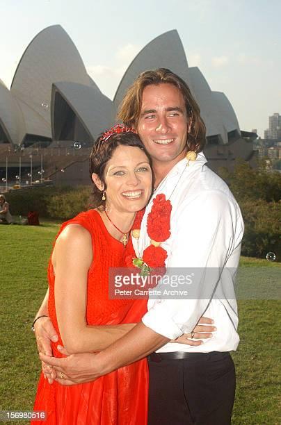 Australian actor Kip Gamblin and dancer Linda Ridgeway celebrate after their wedding ceremony at the Botanic Gardens on March 20 2004 in Sydney...