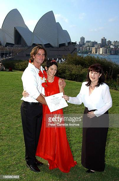 Australian actor Kip Gamblin and dancer Linda Ridgeway pose with their marriage certificate after their wedding ceremony at the Botanic Gardens on...