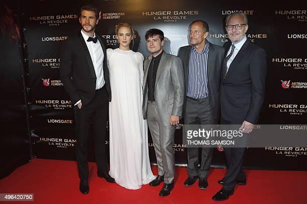Australian actor Liam Hemsworth, US actress Jennifer Lawrence, US actor Josh Hutcherson, US actor Woody Harrelson and US film director Francis...