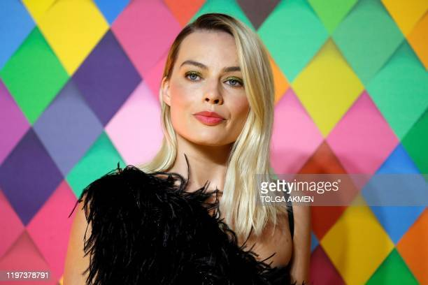 Australian actor Margot Robbie poses on the red carpet upon arrival for the World Premiere of the film 'Birds of Prey' in London on January 29 2020