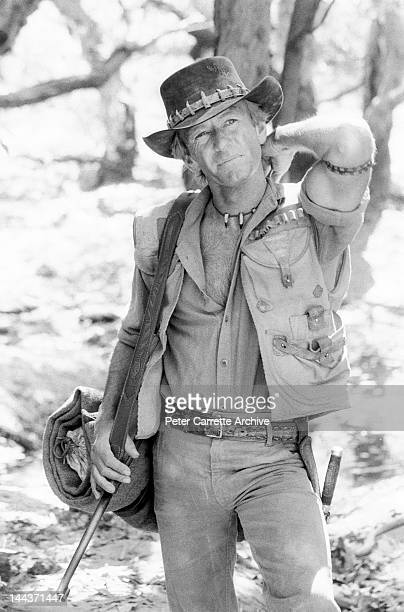 Australian actor Paul Hogan on the set of his new film 'Crocodile Dundee' in 1986 on location in the Northern Territory Australia