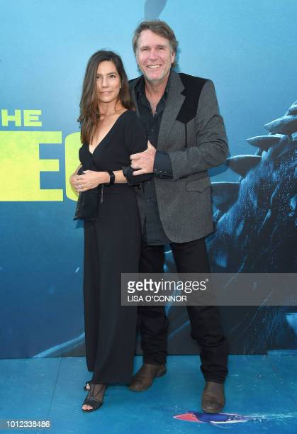 Australian actor Robert Taylor and his wife Australian film producer Ayisha Davies attend the US premiere of Warner Brothers Pictures The Meg in Los...