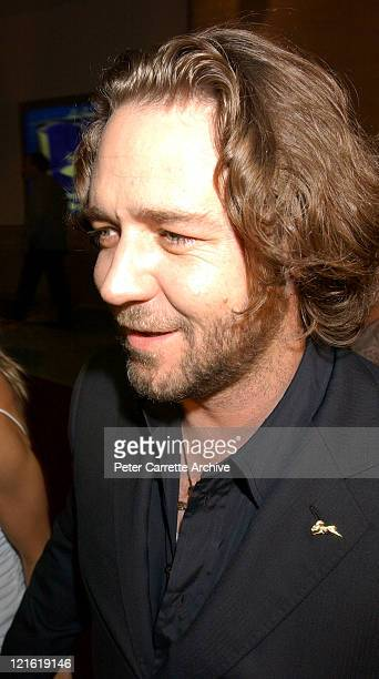 Australian actor Russell Crowe arrives for the premiere of his new film 'A Beautiful Mind' at Fox Studios on February 27 2002 in Sydney Australia