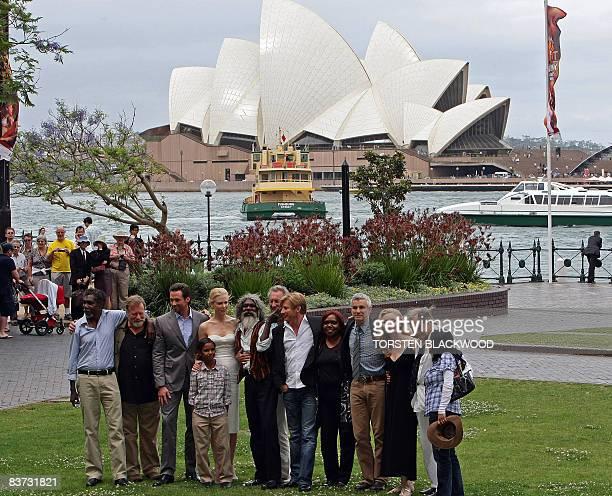 Australian actors David Ngoombujarra Jack Thompson Hugh Jackman Brandon Walters Nicole Kidman Bryan Brown David Gulpilil and David Wenham join...