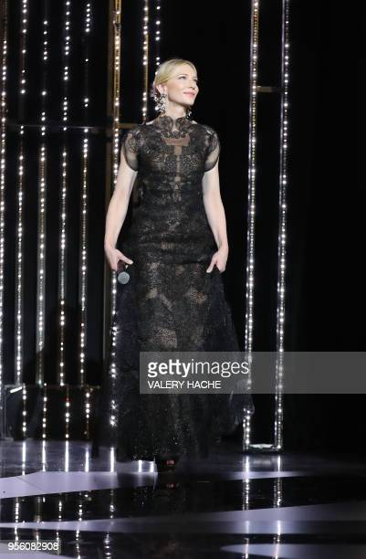 Australian actress and President of the Jury Cate Blanchett arrives on stage on May 8, 2018 for the opening ceremony of the 71st edition of the...