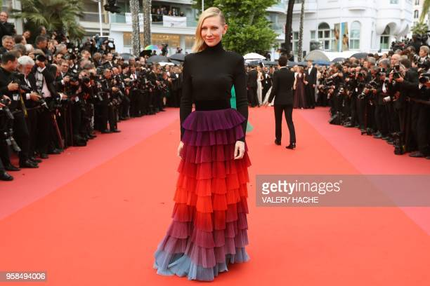 Australian actress and President of the Jury Cate Blanchett poses as she arrives on May 14 2018 for the screening of the film BlacKkKlansman at the...