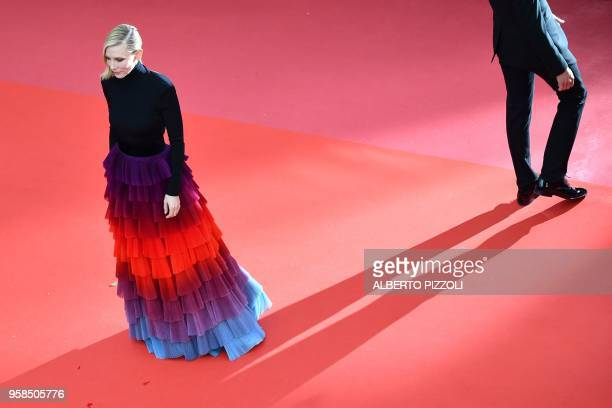 TOPSHOT Australian actress and President of the Jury Cate Blanchett poses as she arrives on May 14 2018 for the screening of the film BlacKkKlansman...