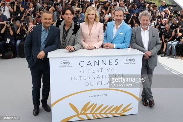 Australian actress and President of the Jury Cate Blanchettt poses on May 8 2018 with Russian director and member of the Feature Film Jury Andrey...