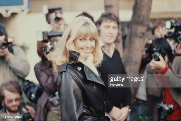 Australian actress and singer Olivia NewtonJohn holds a press conference at the Inn On The Park London UK 29th November 1978 She is starring in the...
