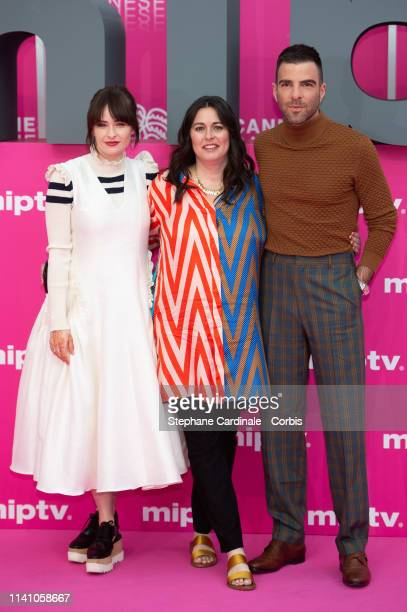 Australian actress Ashleigh Cummings US Creator Jami O'Brien and US actor Zachary Quinto pose on the pink carpet during the 2nd Canneseries...