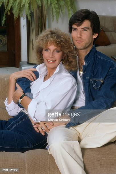 Australian actress Cassandra Harris and her husband Irish actor Pierce Brosnan at home in Los Angeles