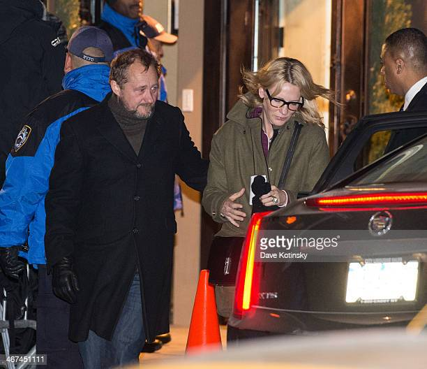 Australian actress Cate Blanchett and her husband Andrew Upton depart the wake for actor Philip Seymour Hoffman at Frank E Campbell Funeral Chapel on...