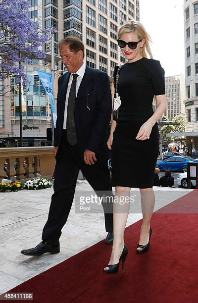 Australian actress Cate Blanchett arrives at the state memorial service for former Australian Prime Minister Gough Whitlam at Sydney Town Hall on...