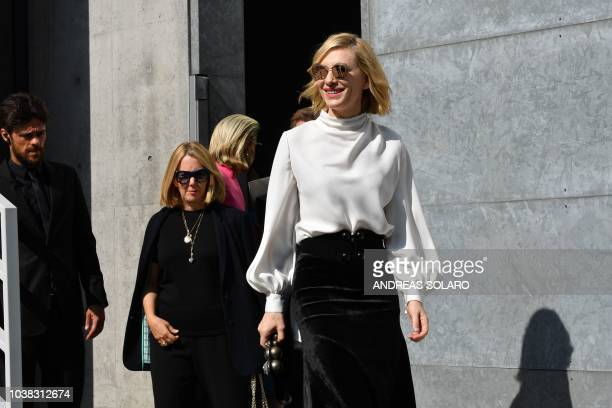 Australian actress Cate Blanchett arrives to pose for photographers after attending the Armani fashion show as part of the Women's Spring/Summer 2019...