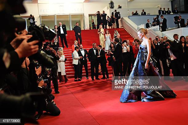 Australian actress Cate Blanchett as she leaves the Festival palace after the screening of the film Carol at the 68th Cannes Film Festival in Cannes...