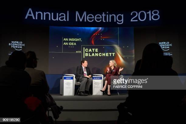 Australian actress Cate Blanchett attends a session moderated by New York Times journalist Nicholas Kristof during the World Economic Forum 2018...