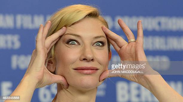 """Australian actress Cate Blanchett gestures as she attends a press conference for the film """"Cinderella"""" presented in competition of the 65th Berlin..."""