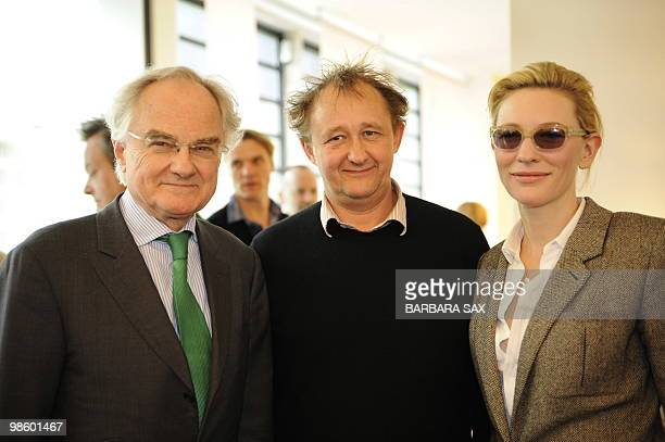 Australian actress Cate Blanchett her husband Andrew Upton and French Ambassador to Germany Bernard de Montferrand pose on the sidelines of an...
