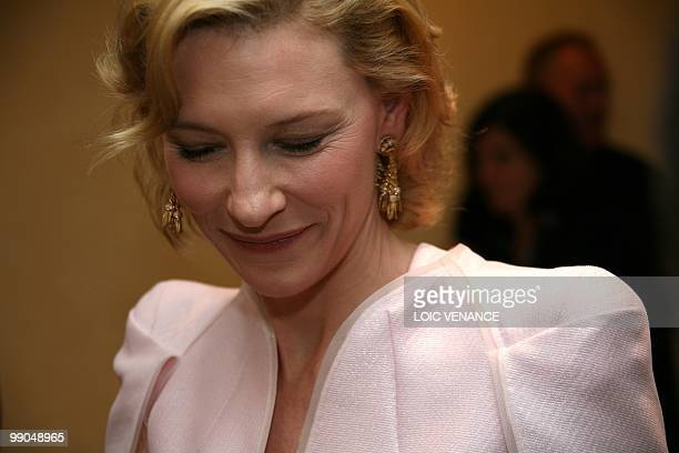 Australian actress Cate Blanchett leaves after the press conference of 'Robin Hood' presented out of competition at the 63rd Cannes Film Festival on...
