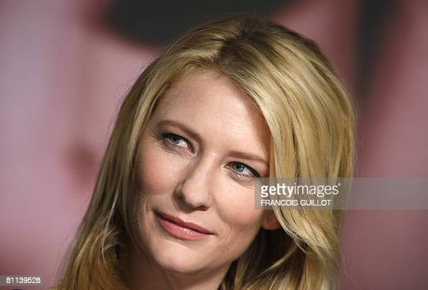 Australian actress Cate Blanchett listens to a question during a press conference for US director Steven Spielberg's film 'Indiana Jones and the...