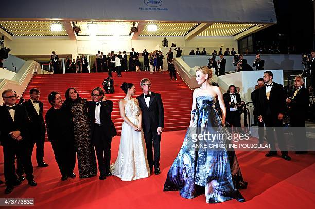 Australian actress Cate Blanchett poses as she leaves the Festival palace with US director Todd Haynes US actress Rooney Mara British producer...