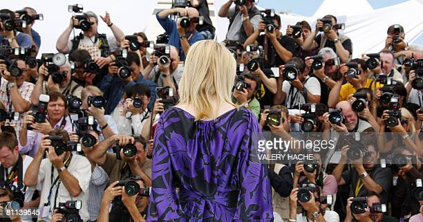 Australian actress Cate Blanchett poses during a photocall for US director Steven Spielberg's film 'Indiana Jones 4' at the 61st Cannes International...