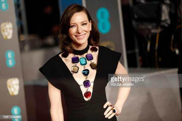 Australian actress Cate Blanchett poses on the red carpet upon arrival at the BAFTA British Academy Film Awards at the Royal Albert Hall in London on...