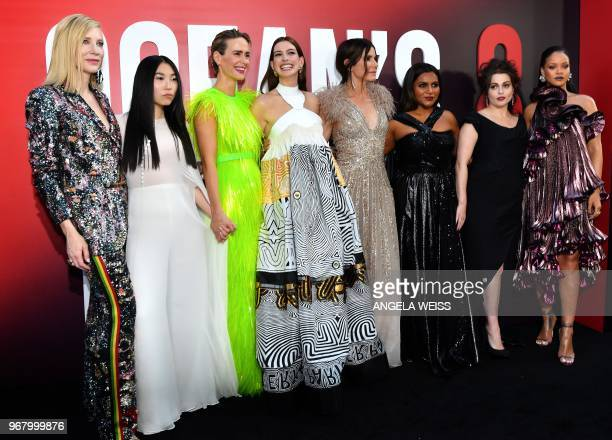 TOPSHOT Australian actress Cate Blanchett rapper/actress Awkwafina actress Sarah Paulson actress Anne Hathaway actress Sandra Bullock actress Mindy...
