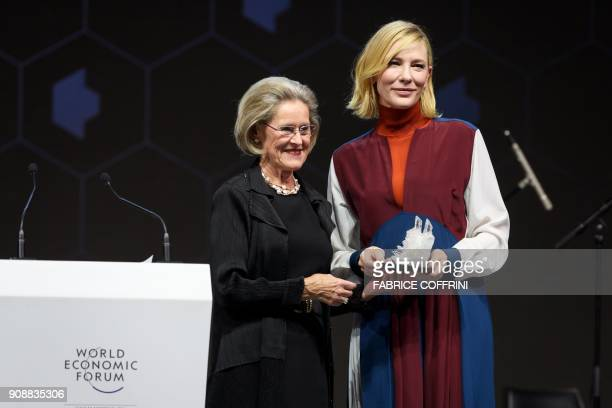 Australian actress Cate Blanchett receives a Crystal Award from the hands of Schwab Foundation for Social Entrepreneurship Chairperson and CoFounder...
