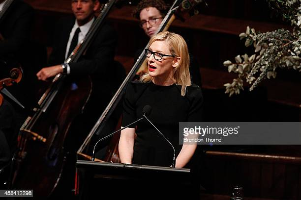 Australian actress Cate Blanchett speaks at the state memorial service for former Australian Prime Minister Gough Whitlam at Sydney Town Hall on...
