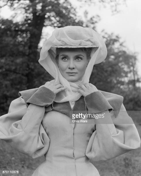 Australian actress Diane Cilento in Edwardian costume for the film 'The Truth About Women' at Shepperton Studios UK May 1957