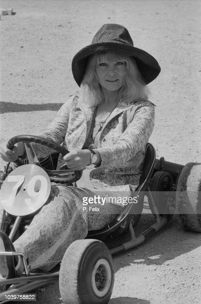 Australian actress Diane Cilento pictured seated in a Gokart on 26th June 1973