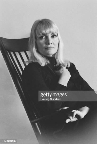 Australian actress Diane Cilento seated in a chair on 11th May 1970