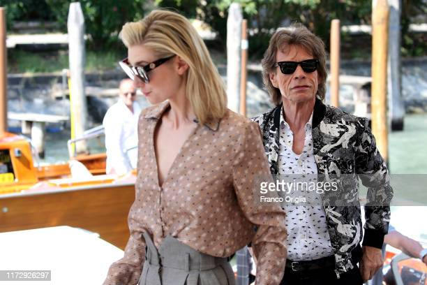 Australian actress Elizabeth Debicki British musician singer and actor Mick Jagger are seen arriving at the 76th Venice Film Festival on September 07...