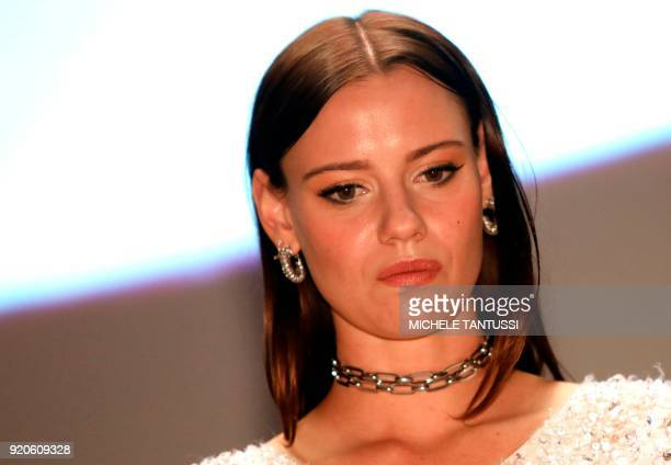 Australian actress Lily Sullivan looks on prior the screening for the Australian series 'Picnic at Hanging Rock' presented in the section 'Berlinale...