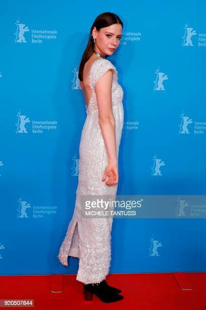 Australian actress Lily Sullivan poses upon arrival for the premiere of the Serie 'Picnic at Hanging Rock' presented in the section 'Berlinale...