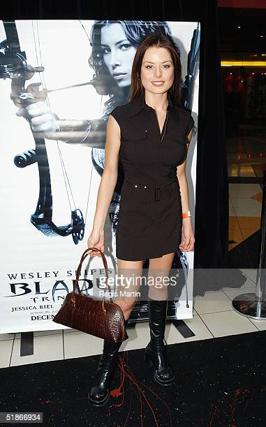 Australian actress Madeleine West arrives for the Melbourne movie premiere of 'Blade Trinity' at The Jam Factory on December 16 2004 in Melbourne...