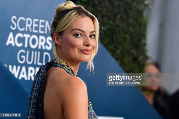 Australian actress Margot Robbie arrives for the 26th Annual Screen Actors Guild Awards at the Shrine Auditorium in Los Angeles on January 19, 2020.