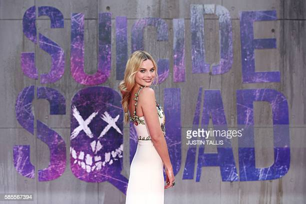 Australian actress Margot Robbie poses as she arrives to attend the European premiere of the film Suicide Squad in central London on August 3, 2016....
