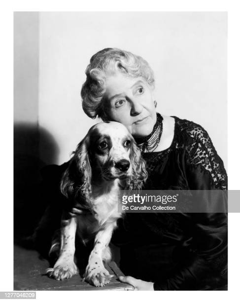 Australian Actress May Robson as 'Mary Jane Queenie Baxter' and Flush, the Cocker Spaniel Dog that was her onscreen Pet in a publicity shot from the...