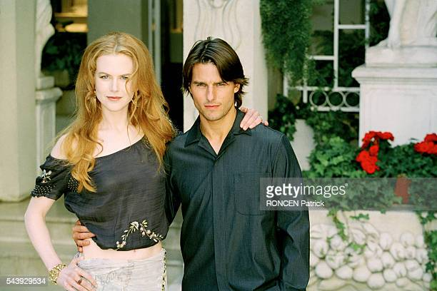 Australian actress Nicole Kidman and American actor Tom Cruise attend a photocall in the gardens of the Ritz Hotel to promote Stanley Kubrick's film...