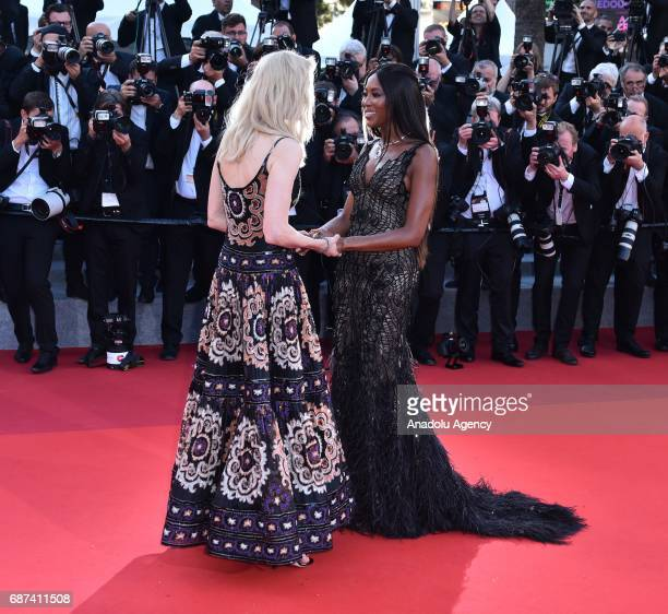 Australian actress Nicole Kidman and British model Naomi Campbell arrive for the 70th Anniversary Ceremony of Cannes Film Festival in Cannes France...