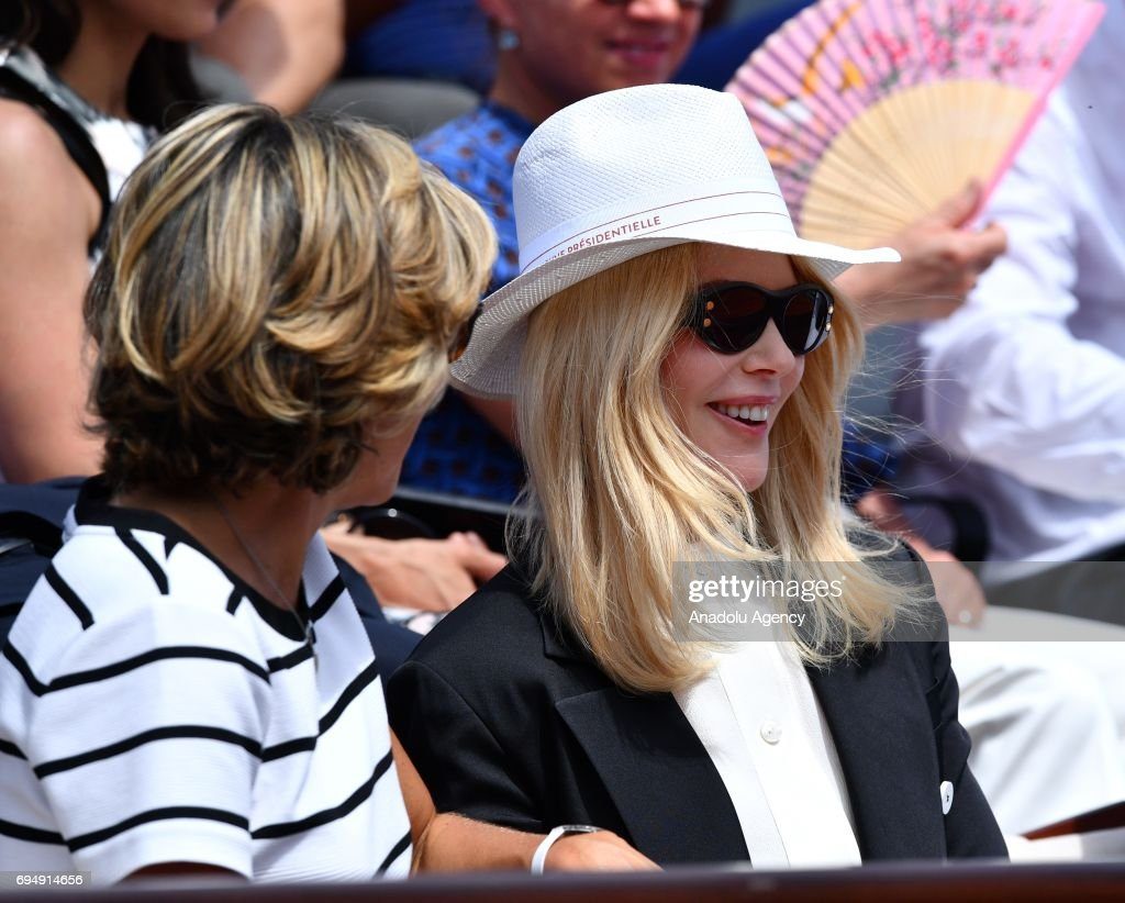 Australian actress Nicole Kidman (R) and Valerie Pecresse (L) attend for the men's final match between Stan Wawrinka of Switzerland and Rafael Nadal of Spain at the Roland Garros stadium in Paris, France on June 11, 2017.