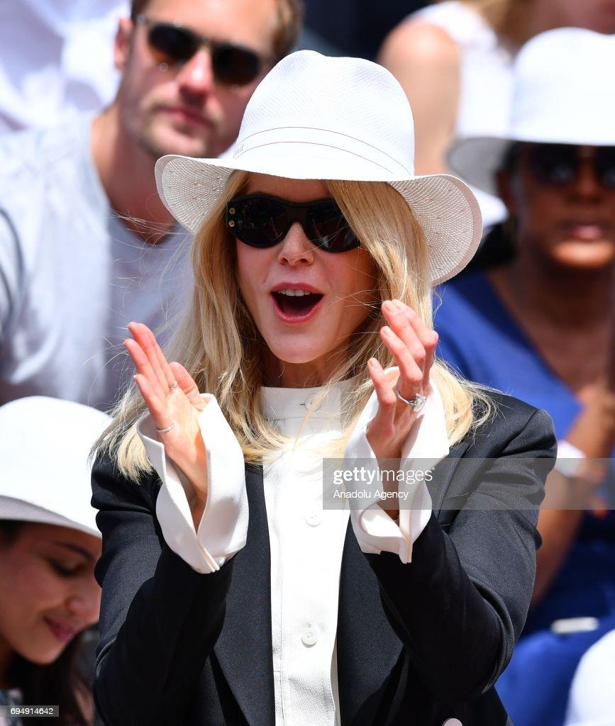 Australian actress Nicole Kidman attends for the men's final match between Stan Wawrinka of Switzerland and Rafael Nadal of Spain at the Roland Garros stadium in Paris, France on June 11, 2017.