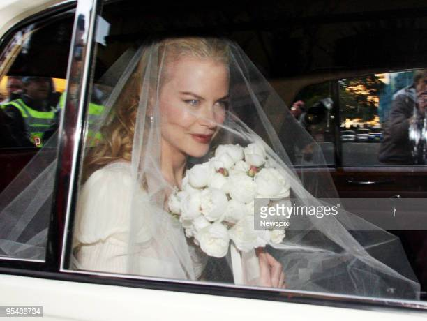 Australian actress Nicole Kidman is pictured leaving her Darling Point home for her wedding to country singer Keith Urban Kidman was accompanied in...