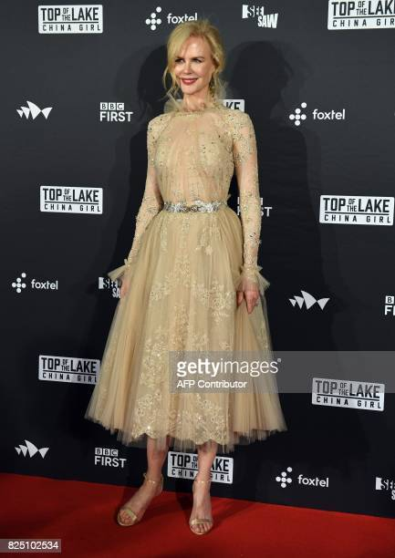 Australian actress Nicole Kidman poses for photographs ahead of the Australian premiere of the film Top of the Lake China Girl in Sydney on August 1...